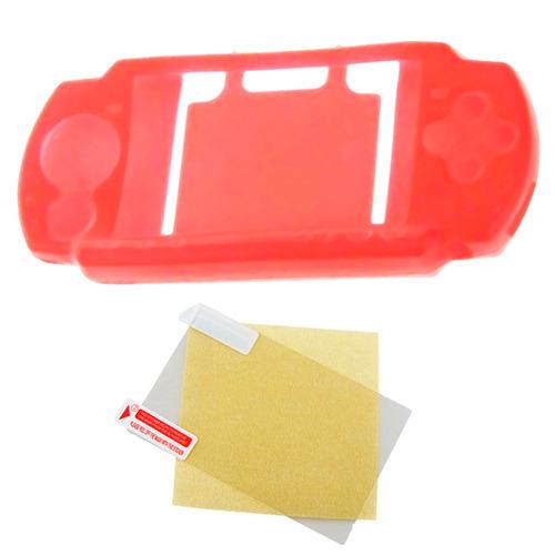 funda protector silicona + protector pantalla sony psp rojo