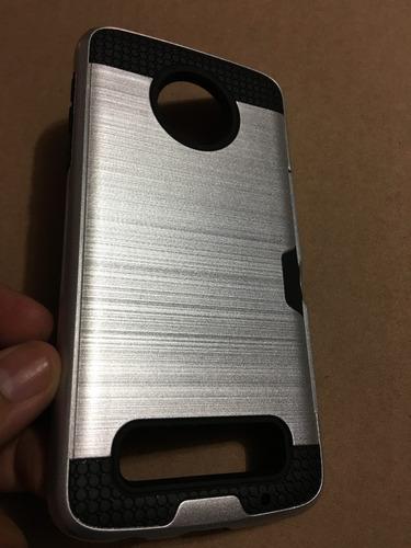 funda protector tipo metalico vcard moto z + envio express