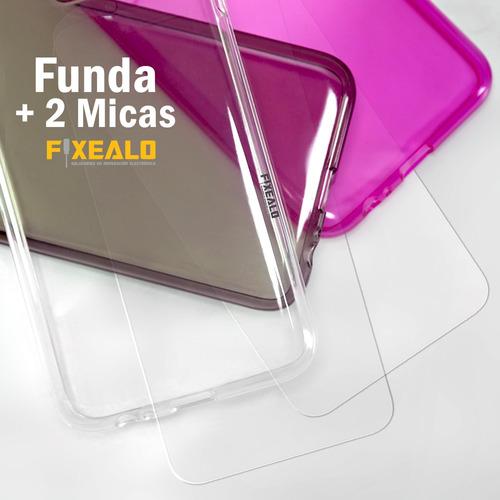 funda protector tpu transparente  + 2 micas huawei gw y6 2