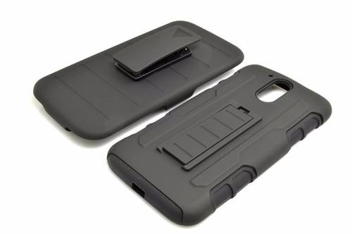 funda protector uso rudo clip + cristal moto g4 plus xt1644