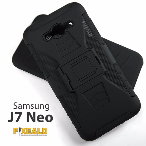 funda protector uso rudo clip + cristal samsung j7 neo j701