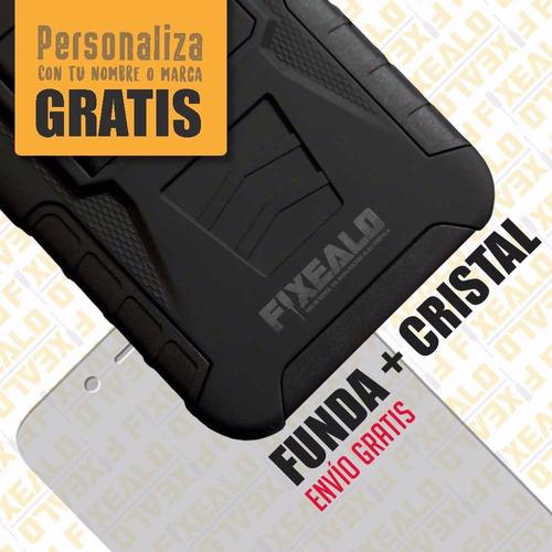 funda protector uso rudo clip  + cristal templado zte a460