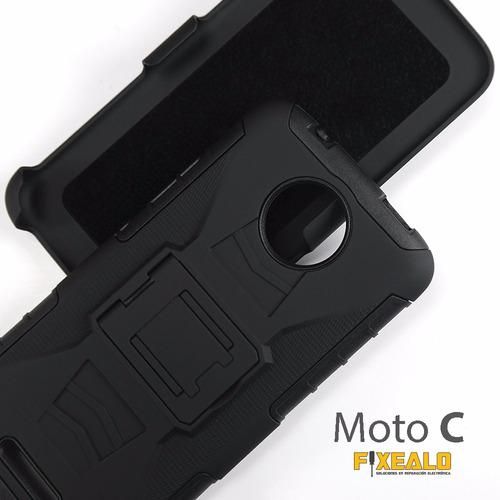 funda protector uso rudo con clip moto c / c plus