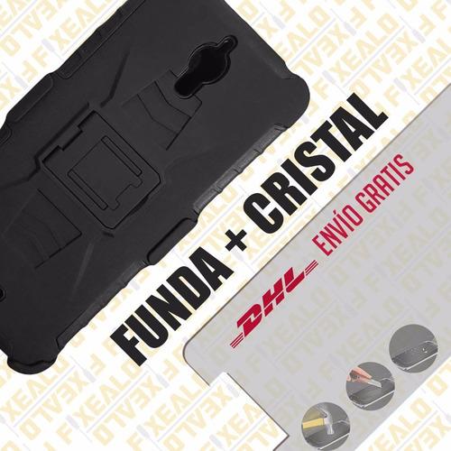 funda protector uso rudo + cristal alcatel pixi 4 (6) ot8050