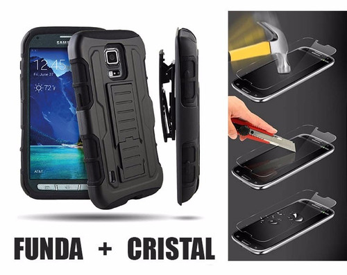 funda protector uso rudo + cristal alcatel pop 4s ot5095