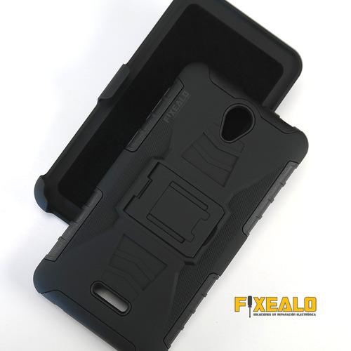 funda protector uso rudo resistente + cristal hisense t963