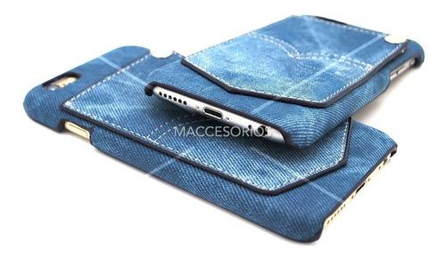 funda protectora  jean denim azul para iphone 6 6s + vidrio