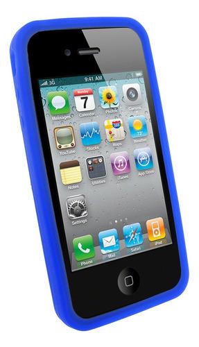 funda protectora silicona apple iphone 4 o iphone 4s azul