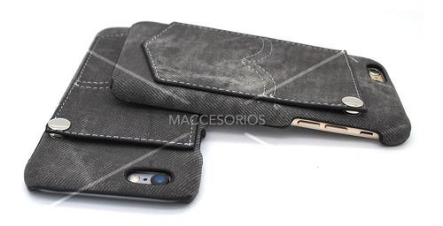 funda protectora tela jean denim gray iphone 6 & 6s + vidrio
