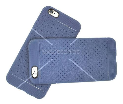 funda protectora tpu texturado azul iphone 6 & 6s + vidrio