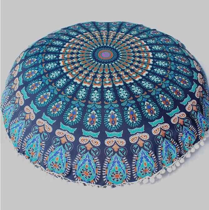Funda Redonda Para Cojín Mandala Azul