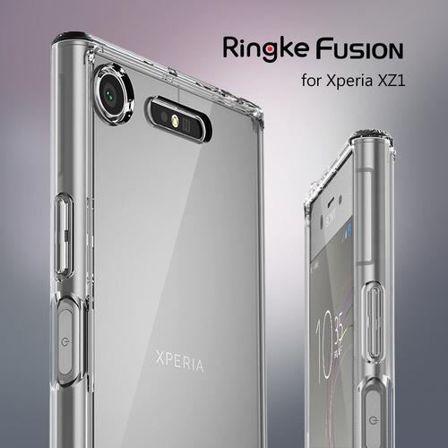 funda ringke fusion sony xperia  xz1 + correa de mano ringke