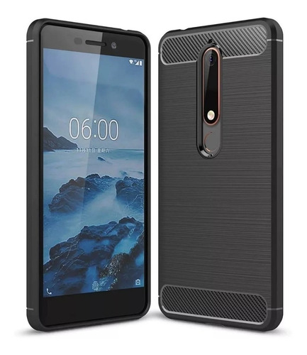 funda rugged armor carbono para nokia 5.1 plus + templado