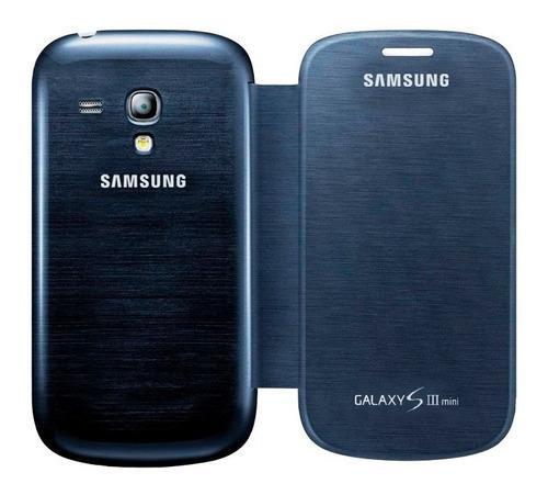 funda samsung galaxy s3 mini i8190 flip cover azul original