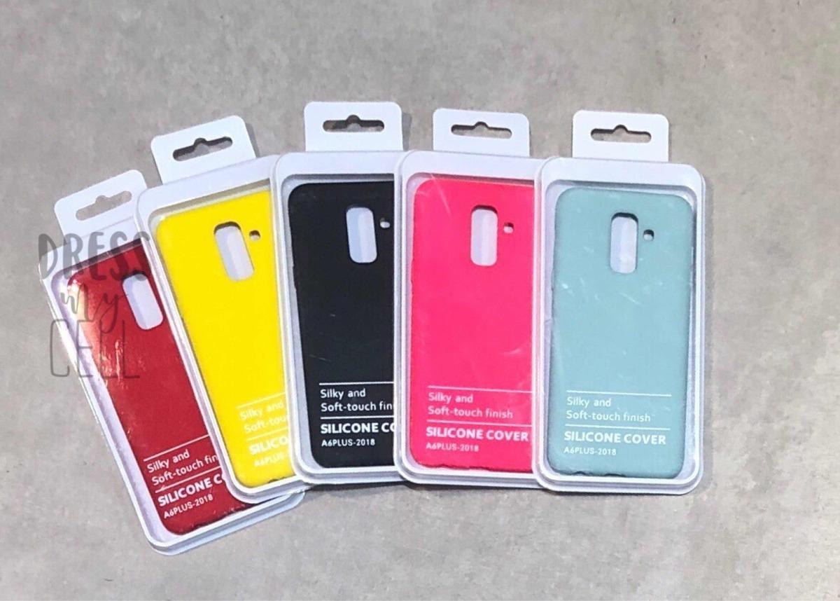 online retailer 8dd1d eed18 Funda Samsung J8 A6 Plus Silicone Case + Vidrio Templado