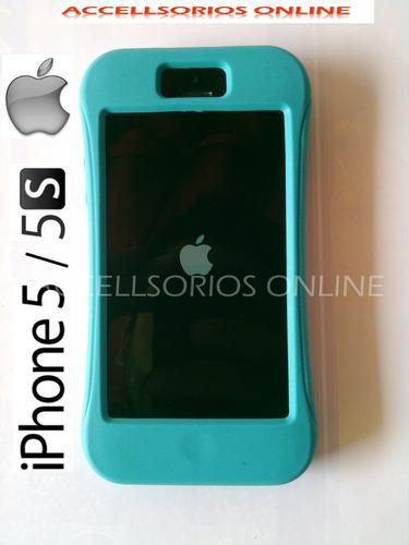 funda silicon plastico rigido iphone 5 y 5s azul turquesa !!