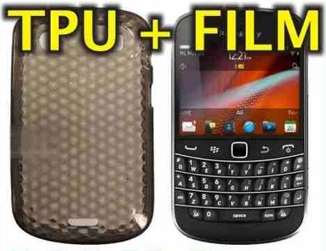 funda silicona gel tpu + film protector blackberry 9900 9930