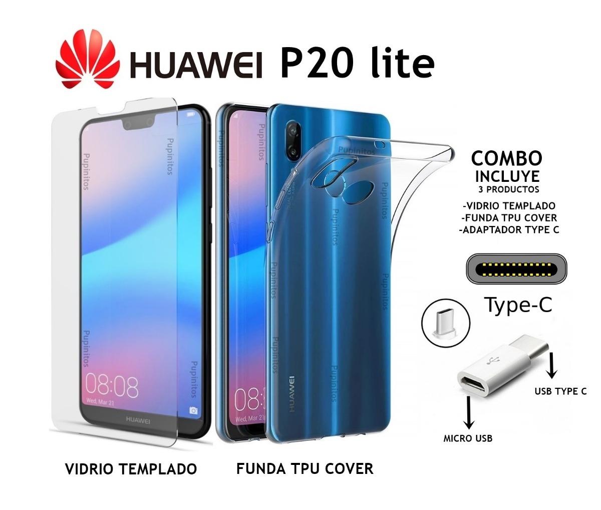 745b9805fe5 Funda Silicona + Vidrio Templado + Adaptador Huawei P20 Lite - $ 900 ...