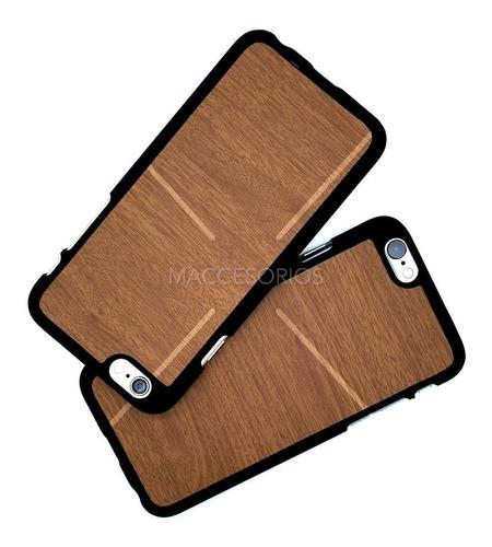 funda simil madera de goma suave para iphone 6 & 6s + vidrio