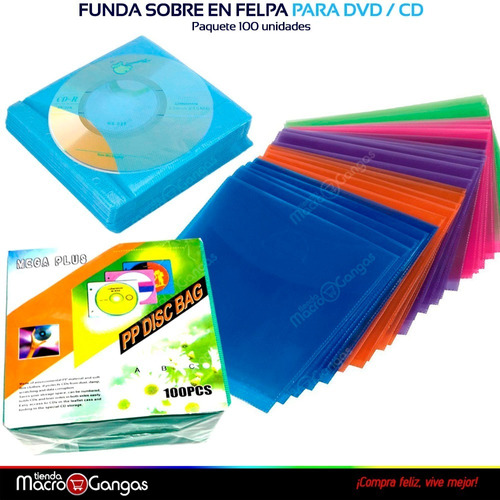 funda sobre en felpa para cd / dvd paquete 100 unidades