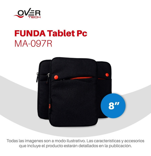 funda tablet 8 pulg overtech ma-097r neoprene netbook pc