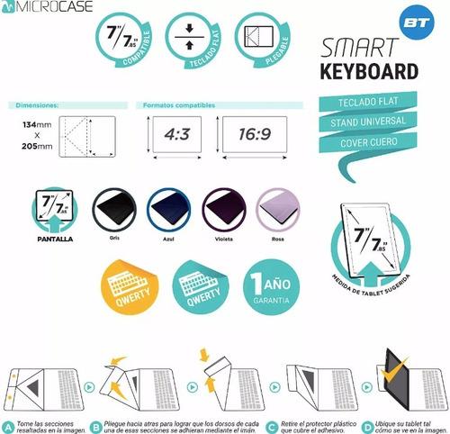 funda teclado microcase 7/7.85 cover keyboard stand bt