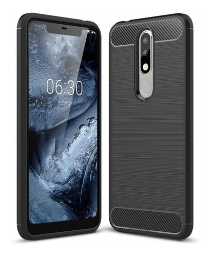 funda tipo rugged armor carbono para nokia 5.1 plus