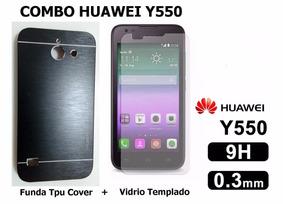 Funda Tpu Cover Aluminio + Vidrio Templado Huawei Y550