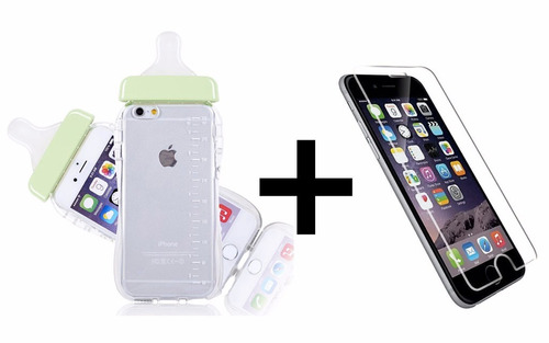 funda tpu diseño mamadera iphone 6 6s 5 5s se + vidrio