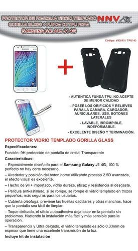 funda tpu + vidrio templado glass samsung galaxy j1 j100 4g
