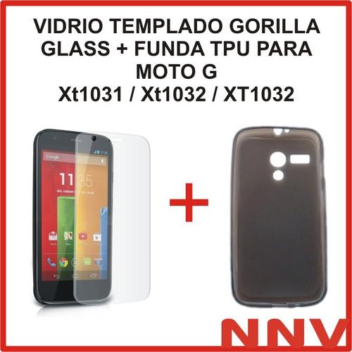 funda tpu + vidrio templado gorilla glass moto g xt1031 1032