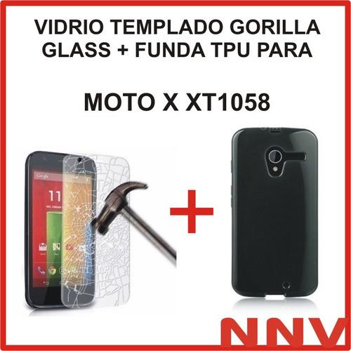 funda tpu + vidrio templado gorilla glass moto x xt1058