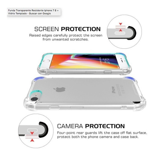 funda transparente resistente iphone 7 8 + vidrio templado