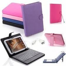 funda universal eco cuero con teclado para tablets de 8