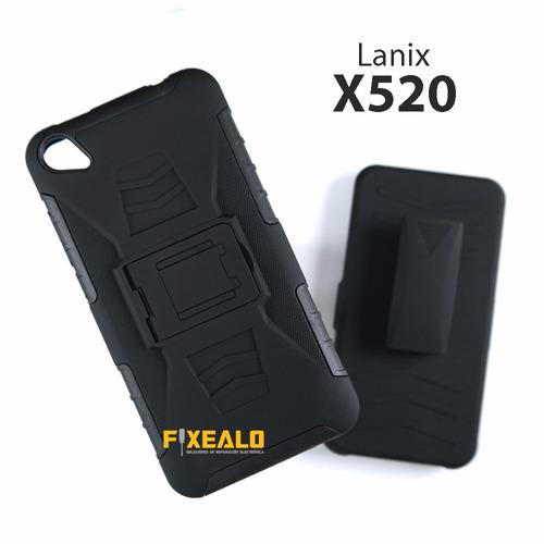 funda uso rudo protector resistente + cristal lanix x520