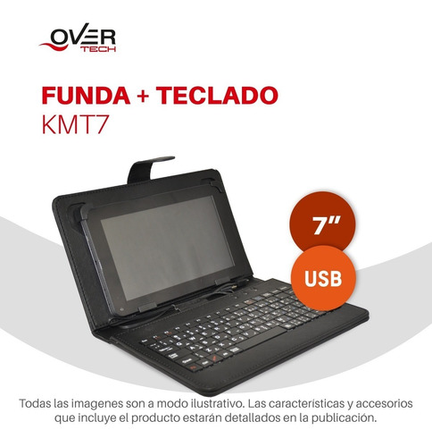 funda y teclado overtech para tablet 7  kmt7 pc