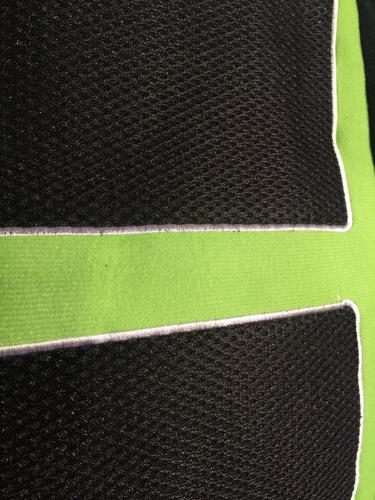fundas cubre asientos tela deportivo negro+ verde .x14 pz m2