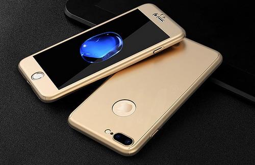 fundas protección 360 para iphone 5, 6,7. vidrio templado