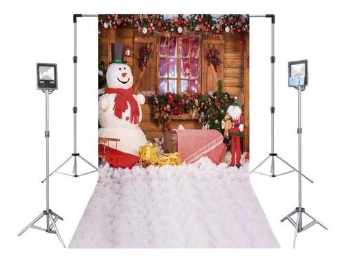 fundo fotográfico boneco de neve de natal 1,4x2,2m -- ff002