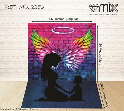fundo fotográfico newborn em tecido parede asas 1,50x2,20