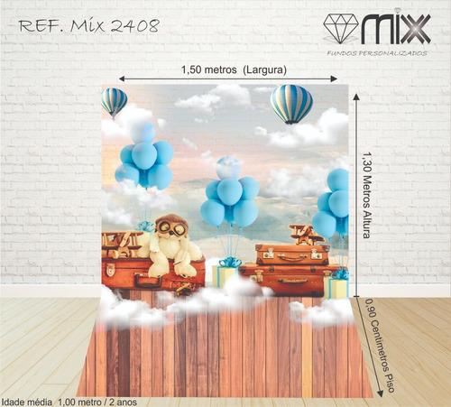 fundo fotográfico newborn em tecido urso balões 1,50x2,20