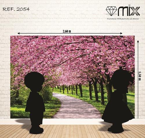 fundo fotográficos em tecido bosque cerejeiras 2,60 x 1,50