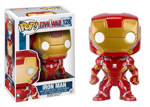 funko pop! capitão américa 3 - homem de ferro #126