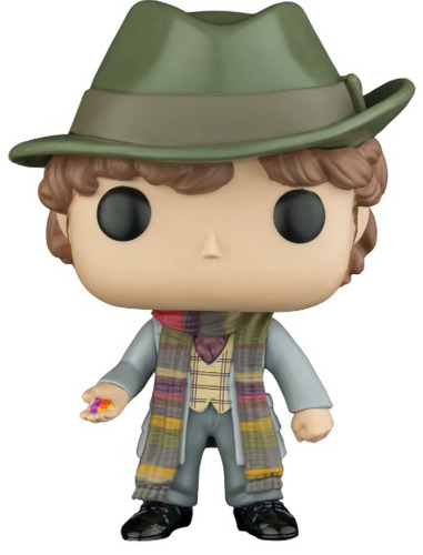 funko pop fourth doctor who with jelly babies en mano