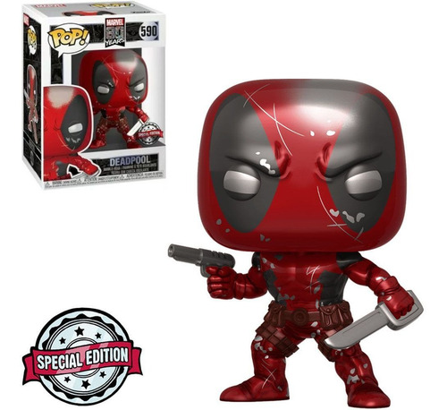 funko pop marvel 80 years exclusive - deadpool metallic 590