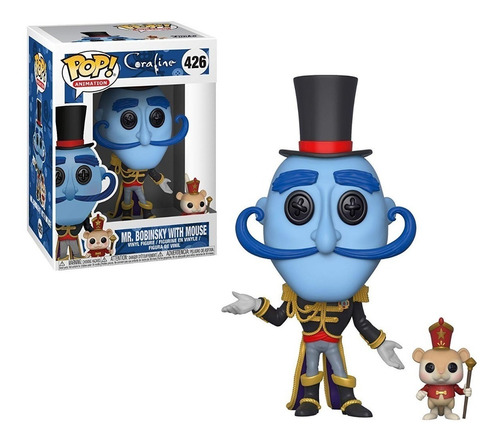 funko pop! mr. bobinsky with mouse 426 coraline muñeco