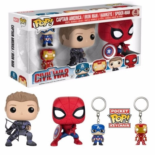 funko pop pack capitan america,iron man,spiderman y hawkeye