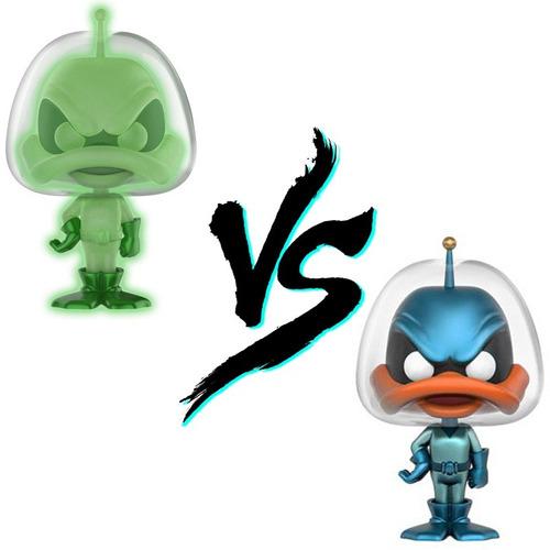 funko pop set 2 duck dodgers glow chase metalico green gamma