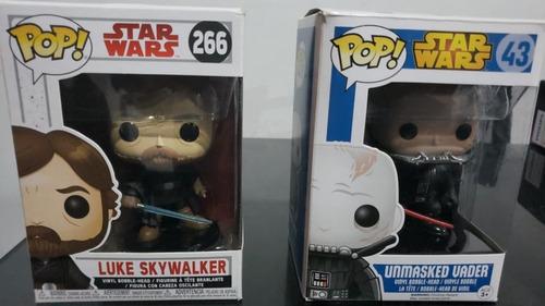 funko pop star wars - luke skywalker y unmasked vader