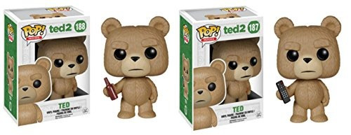 funko ted 2 movie 3.75 pop figure set - ted w /beer & t.v.